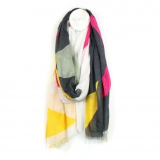 Giant Star Print Scarf Grey Pink and Yellow