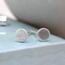 Tiny Matt Round Silver Stud Earrings