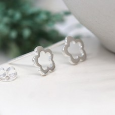 Tiny Silver Cut Out Flower Stud Earrings