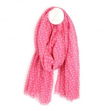 Cotton Scarf Pink and White Star Print