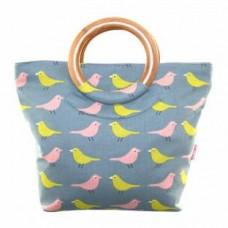 Round Handle Bag Birdy Blue Grey