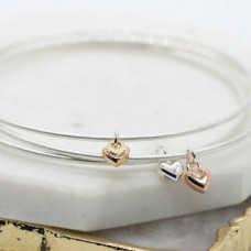 Silver Plated Triple Bangle Set with Hearts