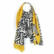 Zebra Print Scarf with Yellow Border