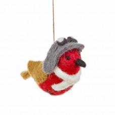 FELT SO GOOD Felt Aviator Robin Hanging Christmas Decoration