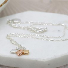 Silver Plated Necklace Three Heart Charms