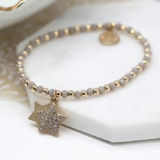 Gold and Grey Bead Bracelet with Double Star Charms