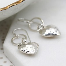 Hammered Heart Drop On Ring Earrings
