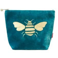 LUA Metallic Bee Large Cosmetic Purse Aqua