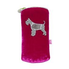 LUA Schnauzer Dog Velvet Glasses Purse Hot Pink