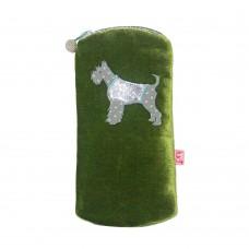 LUA Schnauzer Dog Velvet Glasses Purse Olive