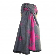 Cosy Bees Scarf Hot Pink/Grey
