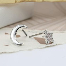 Silver Plated Mismatched Star and Moon Earrings