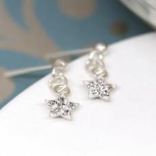 Sterling Silver Crystal Star Drop Earrings