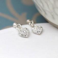 Sterling Silver Crystal Heart Drop Earrings