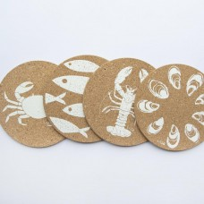 Sustainable Cork Coaster Set of 4 Coastal Mix